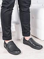 Мужские черные кожаные слипоны 6895-28, фото 1