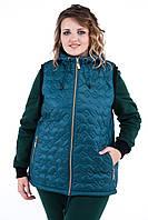 Женская теплая жилетка стеганная с капюшоном Абстракция. Размер 50-56