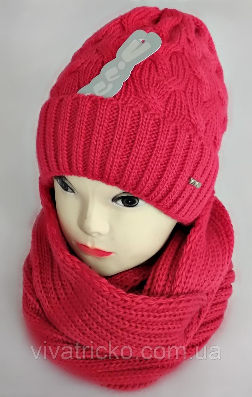 М 5053 Комплект жіночий-підлітковий шапка+хомут, марс,фліс