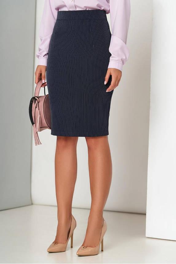 Синяя юбка карандаш в полоску, фото 2