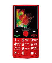 Телефон кнопочный для пожилых людей на 2 сим карты с хорошей батареей Sigma Comfort 50 Solo красный