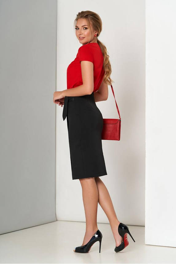 Черная юбка карандаш с ложным запахом, фото 2