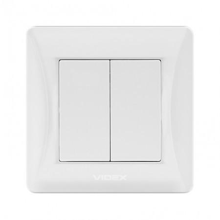 VIDEX BINERA Выключатель белый 2кл (VF-BNSW2-W) (20/120)