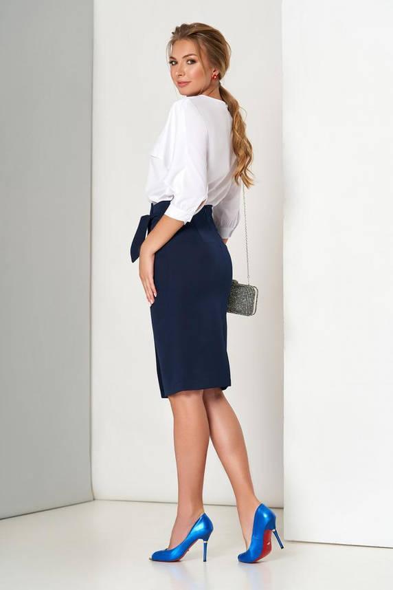 Синяя юбка карандаш с ложным запахом, фото 2