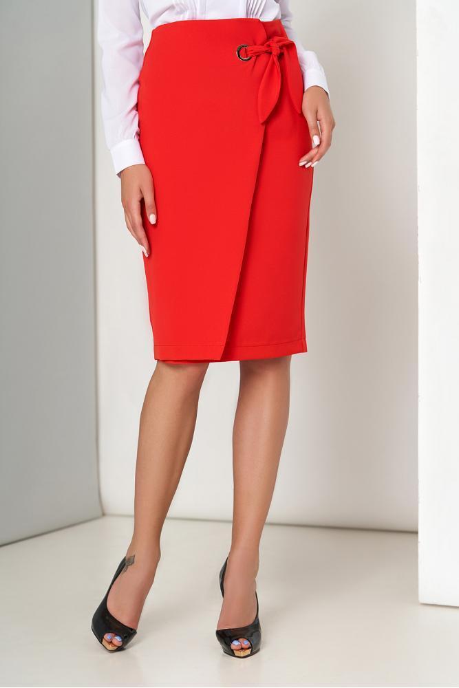 Красная юбка карандаш с ложным запахом