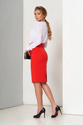 Красная юбка карандаш с ложным запахом, фото 3