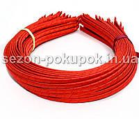 Обруч для волос обмотанный атласной лентой  (5мм металлический).Цена за 50 шт. Цвет - красный