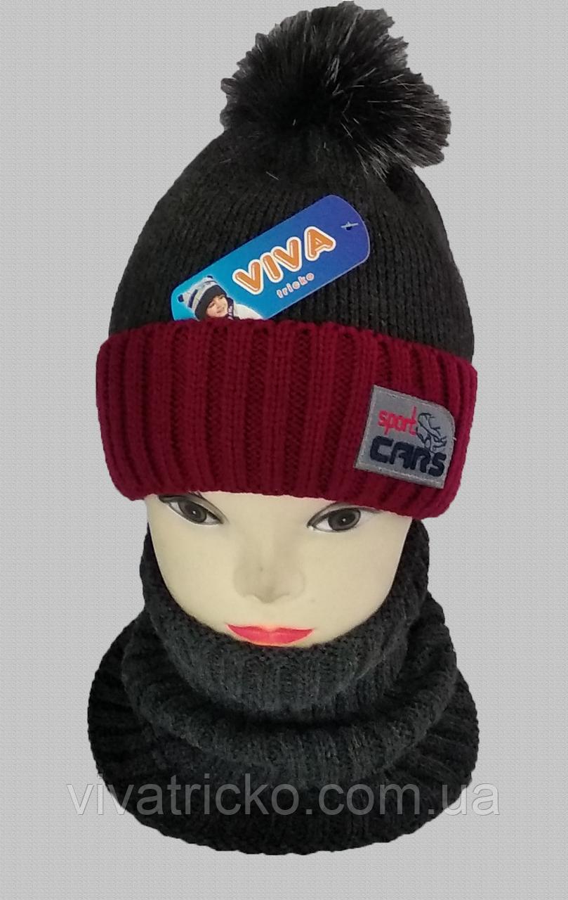 М 5063 Комплект для хлопчика:шапка+манішка, акріл, фліс, різні кольори