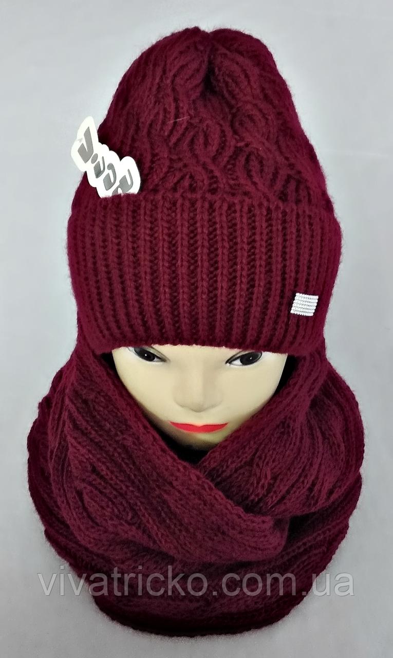 Комплект жіночий шапка+хомут без фліса