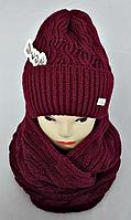 Комплект жіночий шапка+хомут без фліса, фото 1