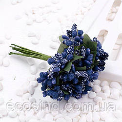 """Тычинки """"Незабудка"""" на проволоке с листиками"""" (Цена за букетик) Цвет - Синий"""