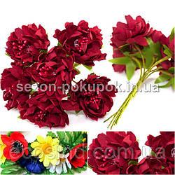 Хризантема Элит букетик, диаметр цветка~3,5-4см  (цена за букет из 6шт) Цвет - Бордовый