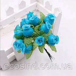 """Цветок """"Бутон розы"""" (цена за букет из 12 шт). Цвет - бирюзовый (сп7нг-2176)"""