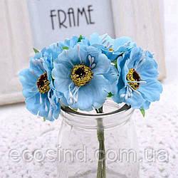 """Цветок """"Дикий мак""""   (букет 6 шт) цвет - голубой"""