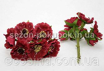 """Цветок """"Дикий мак""""   (букет 6 шт) цвет - марсала (сп7нг-0509)"""