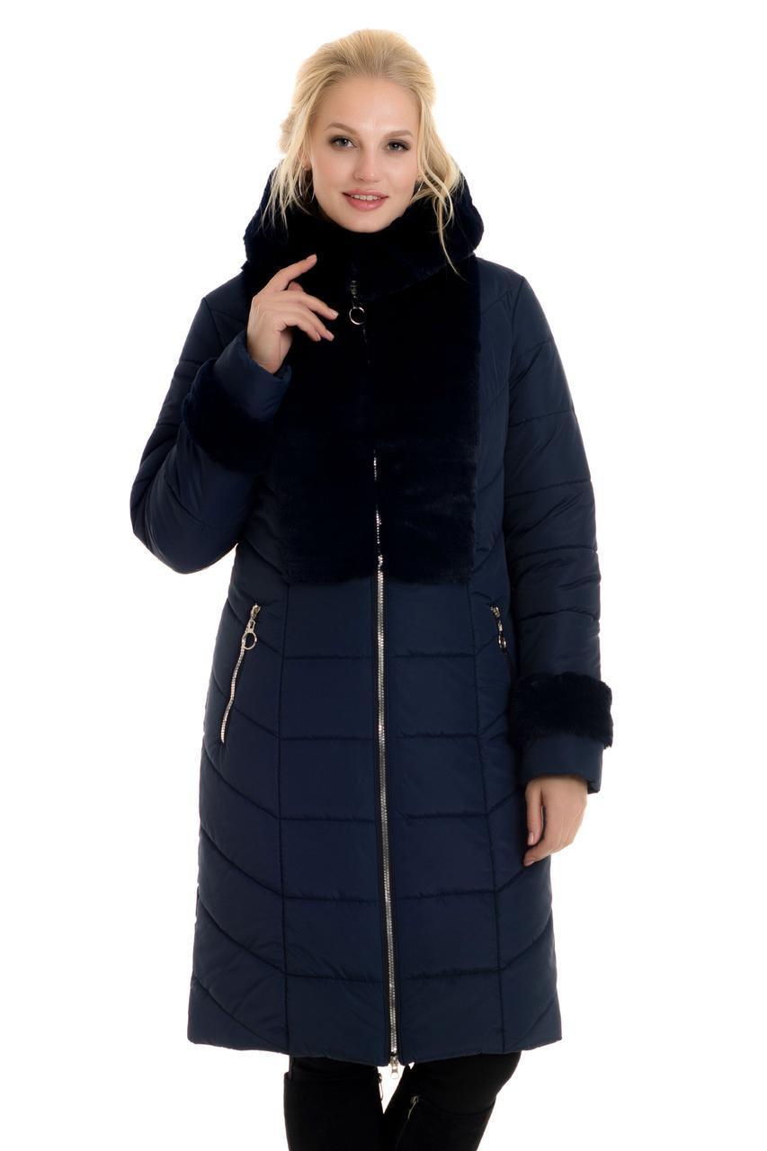Пуховики зимние женские больших размеров  48-56 синий