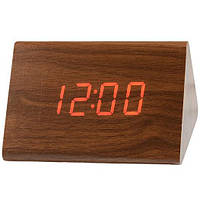 Часы дерево VST 864 Red, портативные настольные часы с красной подсветкой, фото 1