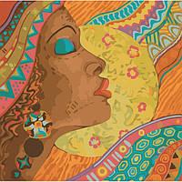 """Картина по номерам. Люди """"Африканские краски"""" 40*40см KHO2637"""