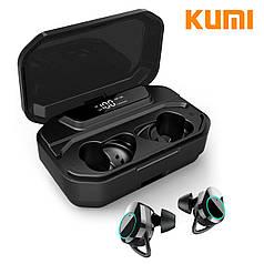☀Бездротові Bluetooth-навушники KUMI T3S Black Блютуз 5 LED дисплей вологозахищені гарнітура з зарядкою ★