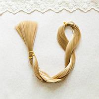 Волосы для кукол для перепрошивки, холодный пепельный блонд люрекс 80 см, шелк,  50 гр