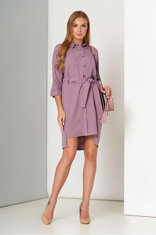 Офисное платье рубашка с поясом сиреневое