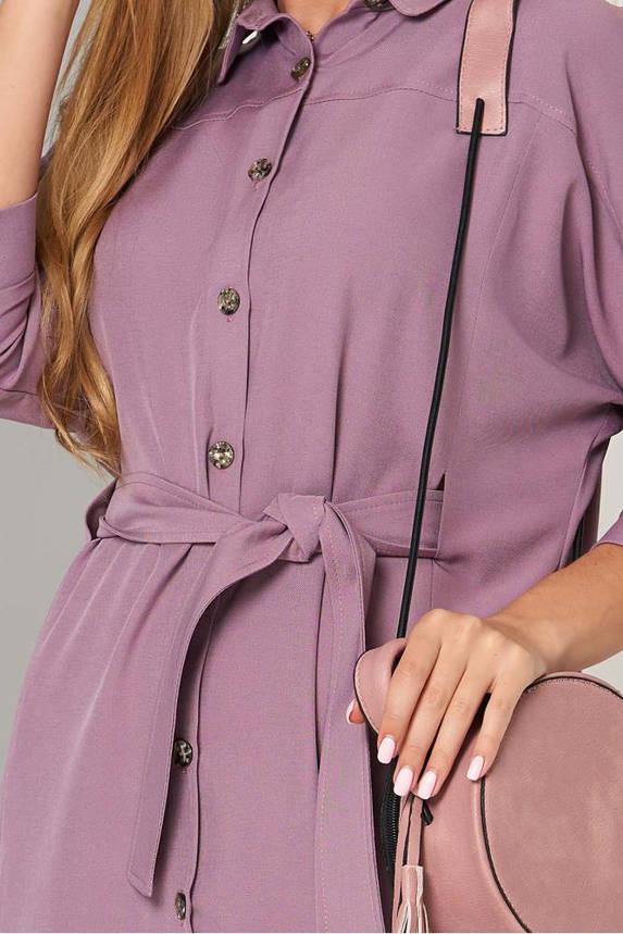 Офисное платье рубашка с поясом сиреневое, фото 2
