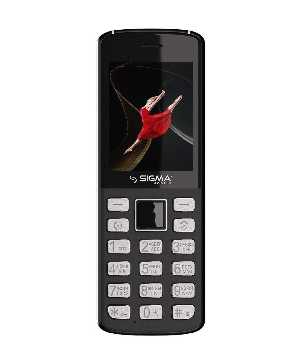 Телефон мобильный кнопочный на 2 сим карты из металла и пластика Sigma X-style 24 ONYX серый