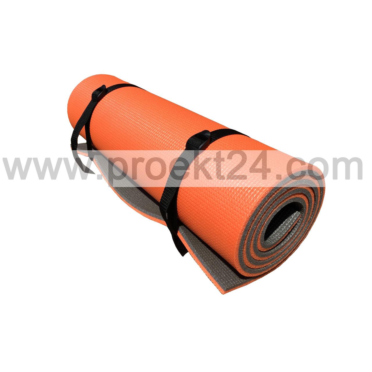 Коврик для фитнеса К-12 оранжево-серый 12 мм