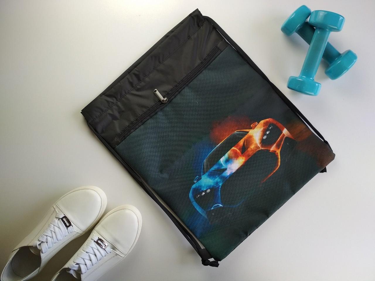Сумка-мешок для сменной обуви и спортивной формы с принтом Машина 44*34 см