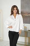 Нарядная женская белая блузка с разрезиком по спинке 42-48р., фото 3