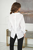 Нарядная женская белая блузка с разрезиком по спинке 42-48р., фото 4