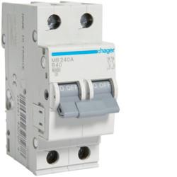 Автоматичний вимикач 40А, 2п, B, 6 kA, hager, Франція