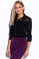 Женская рубашка с гипюром черного цвета. Размеры 42-62, фото 1
