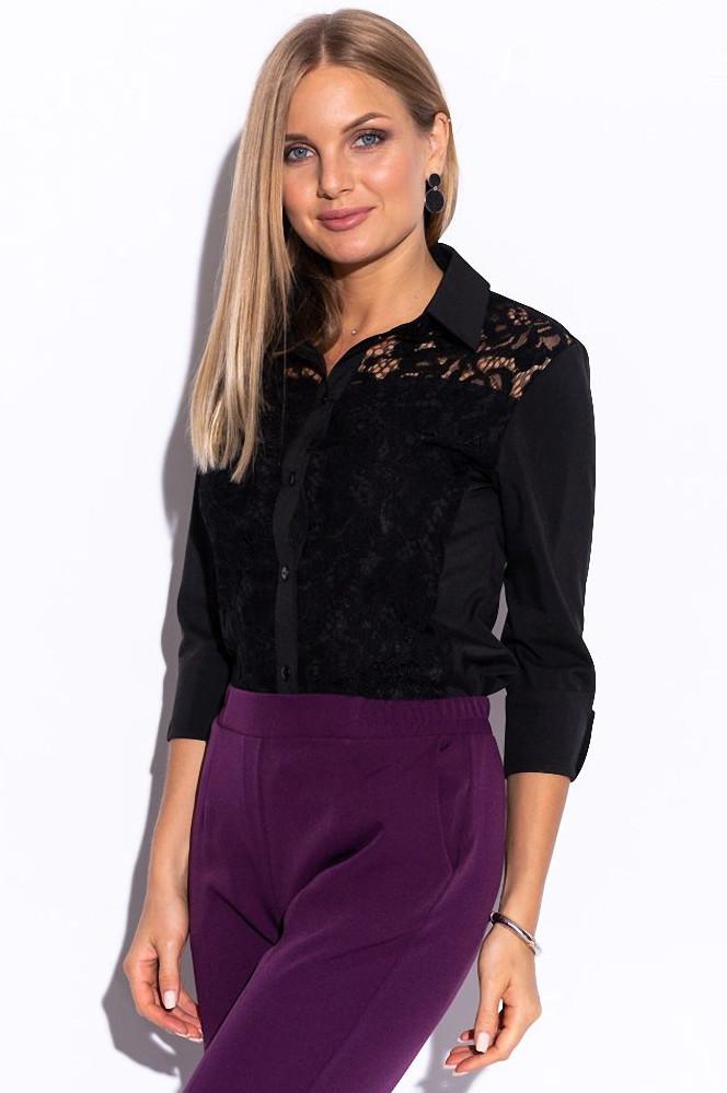 Женская рубашка с гипюром черного цвета. Размеры 42-62