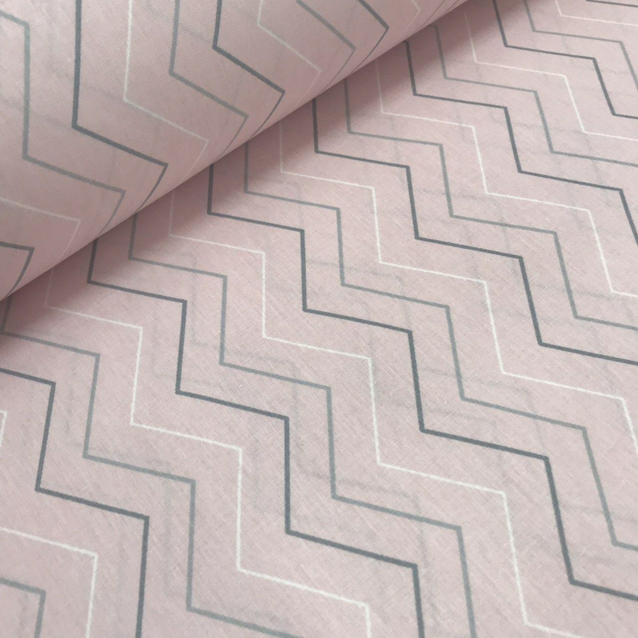 Хлопковая ткань (ТУРЦИЯ шир. 2,4 м) зигзаг тонки серо-белый на розовом