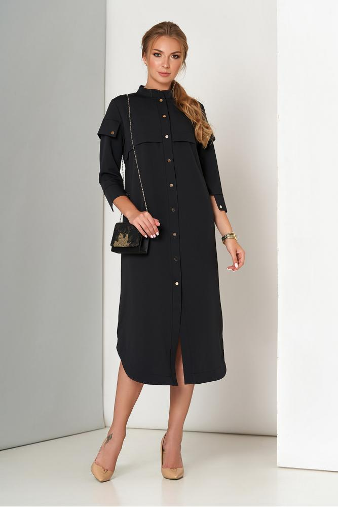 Черное платье рубашка прямого кроя в офисном стиле
