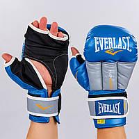 Перчатки гибридные для единоборств ММА кожаные Everlast  (р-р 10-12oz, синий-серый), фото 1