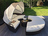 Кровать шезлонг круглая, лаунж из ротанга 210 см.