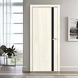 Двери межкомнатные Омис Сити Экошпон с черным стеклом, цвет дуб остин, фото 2