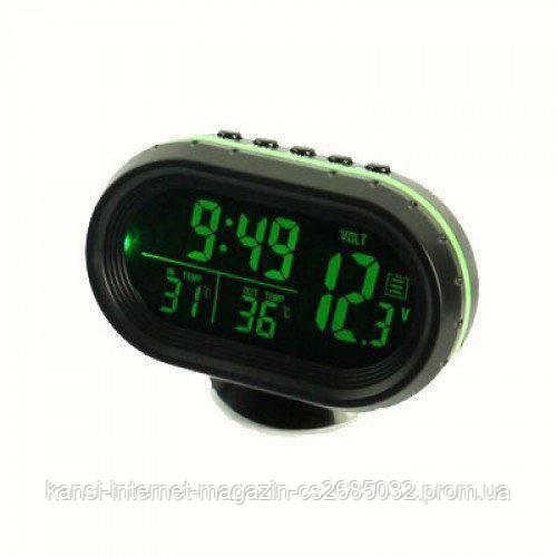 Годинник термометр, вольтметр автомобільні VST-7009V, авточасы
