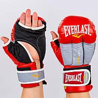 Перчатки гибридные для единоборств ММА кожаные Everlast  (р-р 10-12oz, красный-серый), фото 1