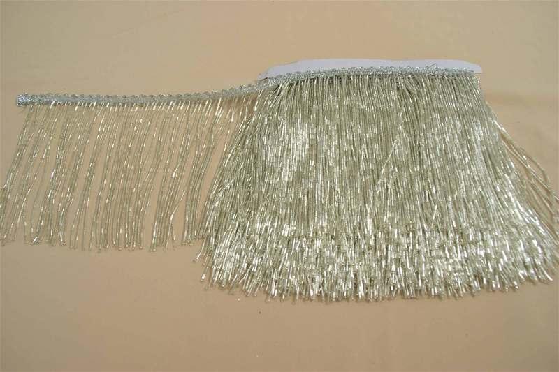 Бахрома серебрянная, стеклярус 14см, м