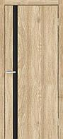 Двери межкомнатные Омис Сити с черным стеклом экошпон, цвет дуб саванна