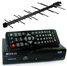 Комплект - зовнішня антена(середньої потужності) + Т2 тюнер(ресівер)