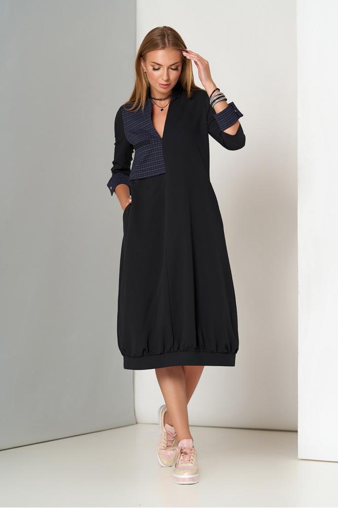 Красивое черное платье-миди оверсайз