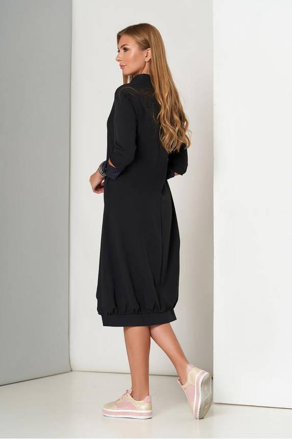 Красивое черное платье-миди оверсайз, фото 2