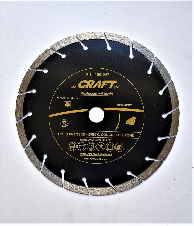 047 Диск Craft відрізний алмазний segment 230*22,2*2,4*8мм цегли, бетону, тротуарної плитки
