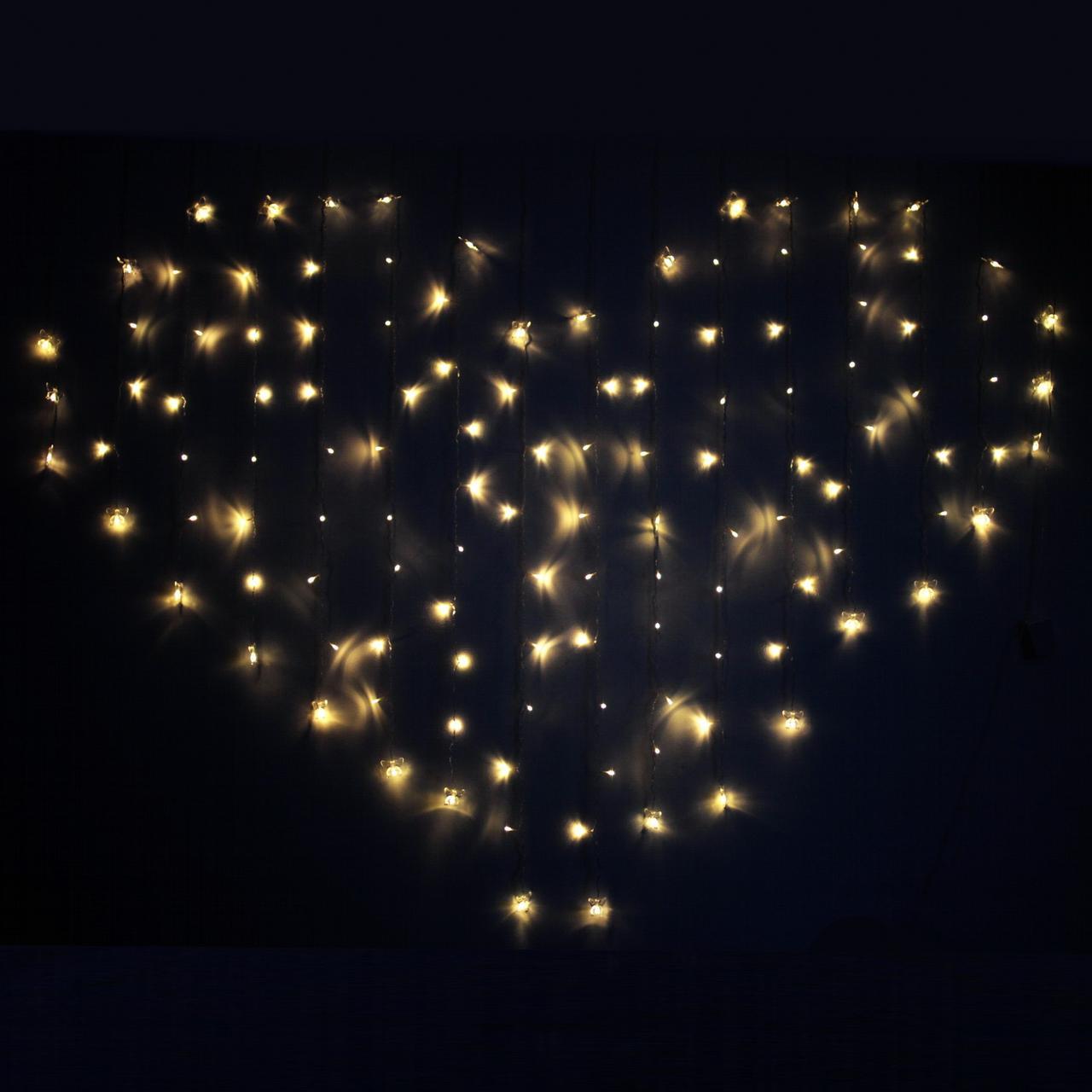 ✅Декоративная Светодиодная Гирлянда Штора Сердце ЛЕД Белая Теплая 2х1,5м 124LED ❤ Curtain Питание От Сети 220В