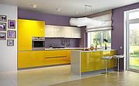 Кухня на заказ BLUM-010 Желтые глянцевые фасады