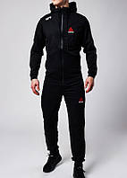 Мужской спортивный костюм в стиле Reebok UFC на замке черного цвета